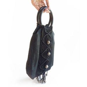 Whiting & Davis Macrame Fringe Mesh Boho Handbag